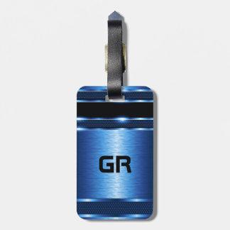 Design geométrico azul metálico moderno tags de mala