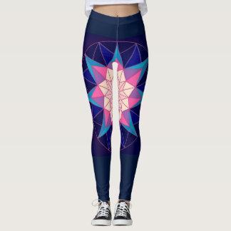 Design geométrico cor-de-rosa dos azuis marinhos leggings