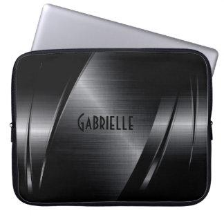 Design geométrico moderno metálico preto capas de computadores notebooks