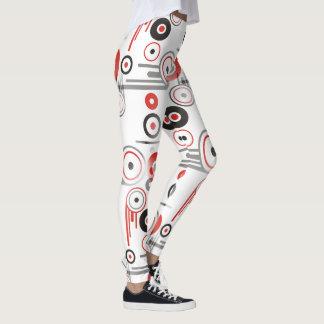 Design geométrico moderno - preto vermelho leggings