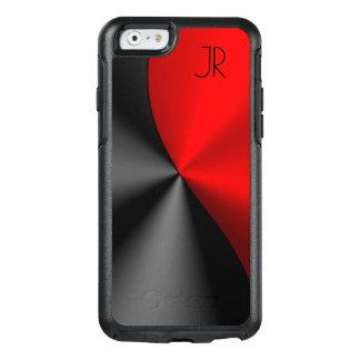 Design geométrico vermelho & preto metálico