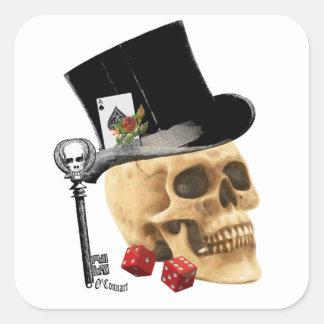 Design gótico do tatuagem do crânio do jogador adesivo quadrado