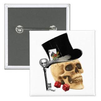 Design gótico do tatuagem do crânio do jogador bóton quadrado 5.08cm