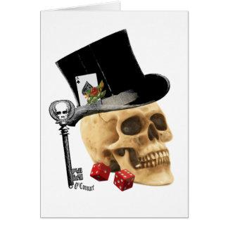 Design gótico do tatuagem do crânio do jogador cartão de nota