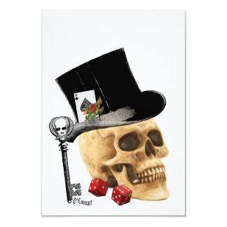 Design gótico do tatuagem do crânio do jogador convite 8.89 x 12.7cm