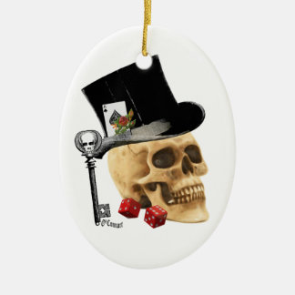 Design gótico do tatuagem do crânio do jogador enfeites de natal