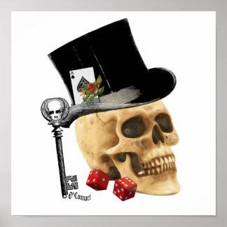Design gótico do tatuagem do crânio do jogador poster