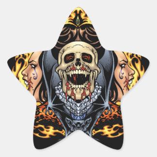 Design gótico dos crânios, dos vampiros e dos adesivo estrela