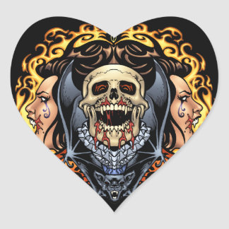 Design gótico dos crânios, dos vampiros e dos adesivo de coração