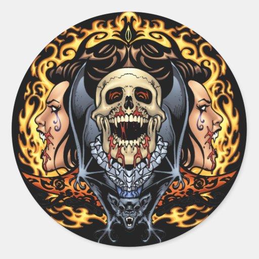 Design gótico dos crânios, dos vampiros e dos adesivo em formato redondo