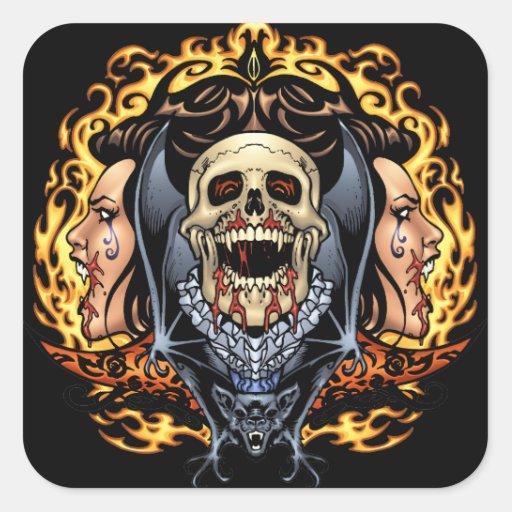 Design gótico dos crânios, dos vampiros e dos adesivo quadrado