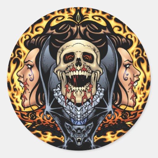Design gótico dos crânios, dos vampiros e dos bast adesivo redondo