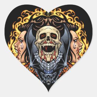 Design gótico dos crânios dos vampiros e dos bast adesivo de coração