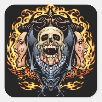 Design gótico dos crânios, dos vampiros e dos bast adesivo quadrado