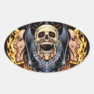 Design gótico dos crânios dos vampiros e dos bast adesivos em formato oval