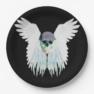 Design gótico voado do crânio perfeito para o Dia Prato De Papel