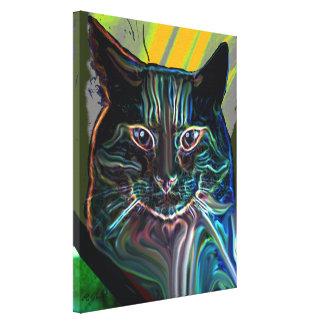 design gráfico colorido de gato preto em canvas impressão em tela