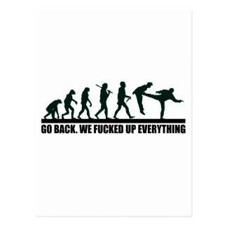 Design gráfico engraçado de evolução humana cartão postal