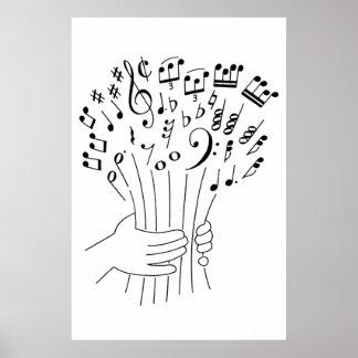 Design gráfico: flores de notas musicais - pôster