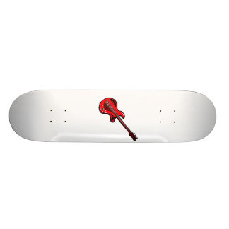 Design gráfico musical vermelho de guitarra elétri shape de skate 18,1cm