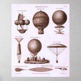 Design histórico do balão de ar quente impressão