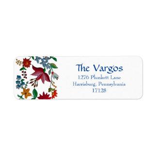 Design húngaro do bordado da flor etiqueta endereço de retorno