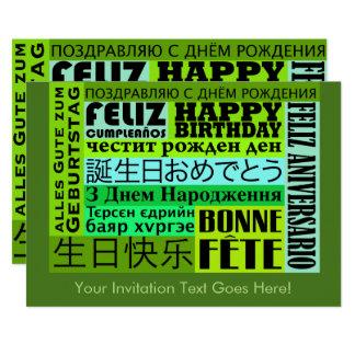 Design internacional do feliz aniversario convite 12.7 x 17.78cm