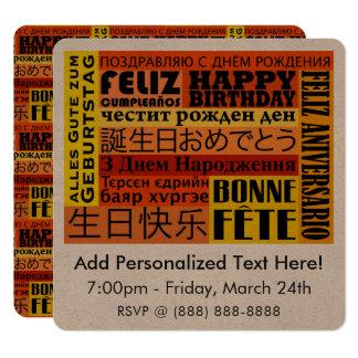 Design internacional do feliz aniversario convite quadrado 13.35 x 13.35cm