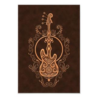 Design intrincado da guitarra baixa de Brown Convite 8.89 X 12.7cm