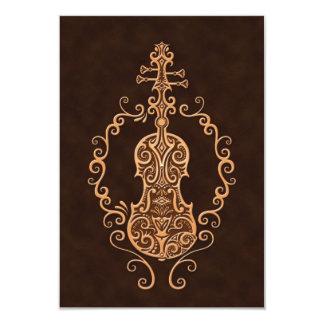 Design intrincado do violino de Brown Convite