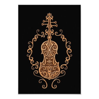Design intrincado do violino de Brown no preto Convites Personalizados