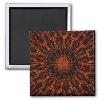 Design Kaleidoscopic preto do vermelho alaranjado Ímã Quadrado
