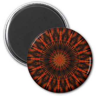Design Kaleidoscopic preto do vermelho alaranjado Ímã Redondo 5.08cm