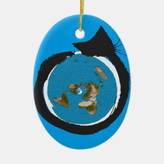 Design liso da terra - CLÁSSICO do MAPA do CAT Ornamento De Cerâmica Oval