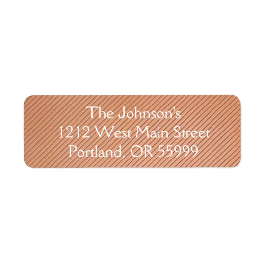 Design listrado de cobre etiqueta endereço de retorno