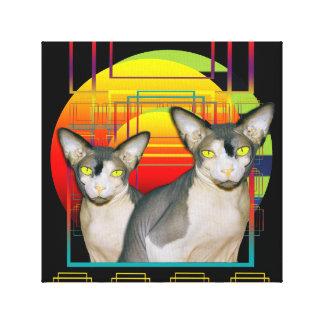 Design louco do gato dos gatos gêmeos pretos das impressão em tela
