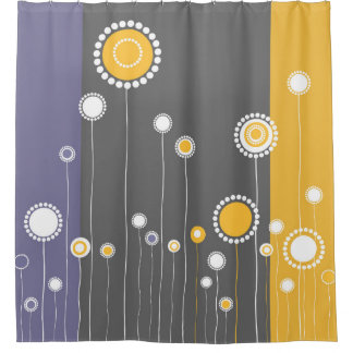 Design lunático do teste padrão de flores cortina para chuveiro