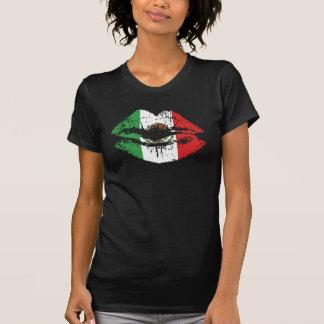 Design mexicano da camisola de alças dos lábios camiseta