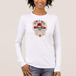 Design mexicano do crânio do açúcar camiseta manga longa