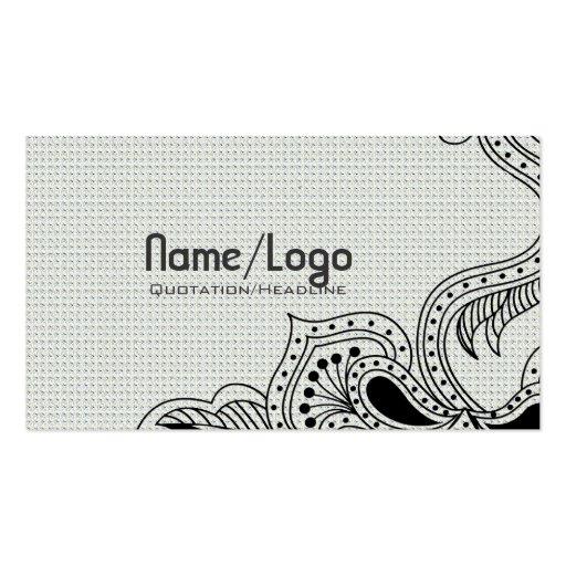 Design-Modelo retro preto & branco da flor Cartão De Visita