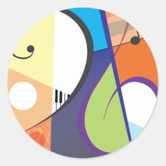 Design musical do símbolo adesivos em formato redondos