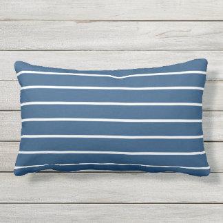 Design náutico clássico da listra branca azul almofada para ambientes externos
