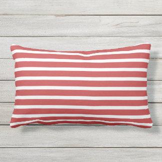 Design náutico clássico da listra branca vermelha almofada para ambientes externos