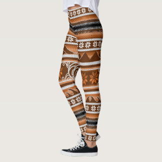 Design nórdico alaranjado do inverno legging