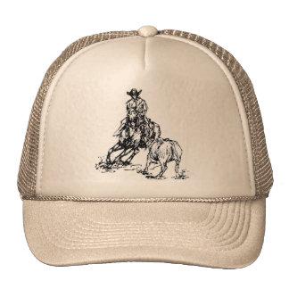 Design ocidental do esboço do cavalo do corte boné