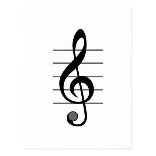 Design original da nota musical cartoes postais
