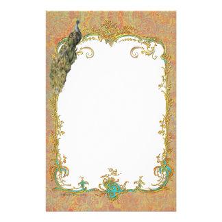 Design ornamentado da arte do pavão n Paisley Papel Personalizado
