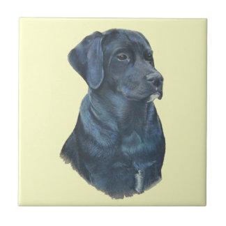 design preto da arte do realista do retrato do cão azulejo quadrado pequeno