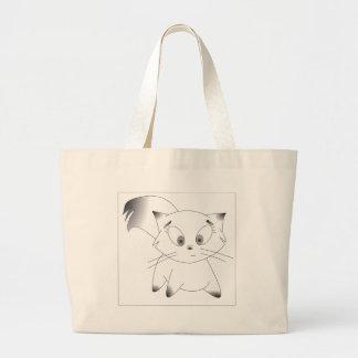 Design preto e branco bonito do gato dos desenhos sacola tote jumbo