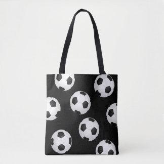 design preto e branco da sacola da bola de futebol bolsa tote